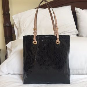 Michael Kors black patent leather tote
